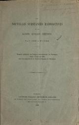 Cover of Les nouvelles substances radioactives et les rayons qu'elles émettent
