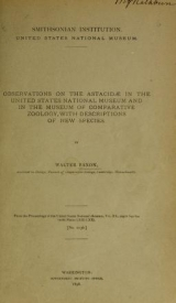 Cover of Observations on the Astacidae in the United States National Museum and in the Museum of Comparative Zoology