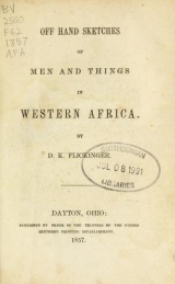 """Cover of """"Off hand sketches of men and things in western Africa /"""""""