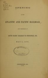 Cover of Opening of the Atlantic and Pacific Railroad