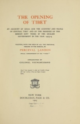 Cover of The opening of Tibet
