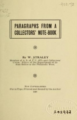 Cover of Paragraphs from a collectors' note-book