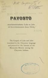 Cover of Pavosto zeoxchešenitotahaōez Luke na John niš hevovistomosseon Jesus Christ =