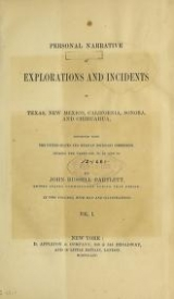 Cover of Personal narrative of explorations and incidents in Texas, New Mexico, California, Sonora, and Chihuahua