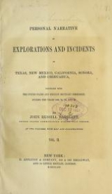 Cover of Personal narrative of explorations and incidents in Texas, New Mexico, California, Sonora, and Chihuahua v.2 (1854)