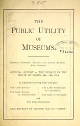 Cover of The Public utility of museums