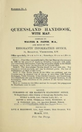 Cover of Queensland handbook, with map no.5 (1911:Mar.)