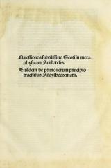 Cover of Questiones subtilissme Scoti in metaphysicam Aristotelis