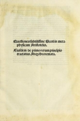 Cover of Questiones subtilissme Scoti in metaphysicam Aristotelis