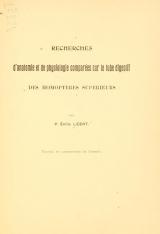 Cover of Recherches d'anatomie et de physiologie comparées sur le tube digestif des Homoptères supérieurs