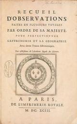 Cover of Recueil d'observations faites en plusieurs voyages par ordre de Sa Majesté, pour perfectionner l'astronomie et la geographie