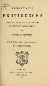 Cover of Remarkable providences illustrative of the earlier days of American colonisation