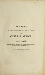 Cover of Remarks on the recent travels of Dr. Barth in Central Africa, or Soudan