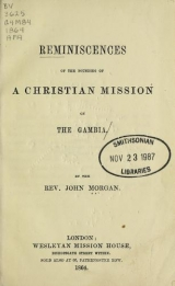 Cover of Reminiscences of the founding of a Christian mission on the Gambia