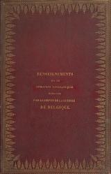 Cover of Renseignements sur les opérations topographiques éxécutées par le dépôt de la guerre de Belgique pour la rédaction de la carte du pays