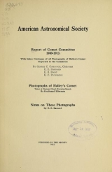 Cover of Report of Comet Committee 1909-1913