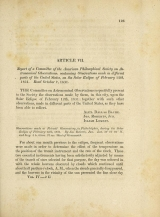 Cover of Report of a Committee of the American Philosophical Society on Astronomical Observations