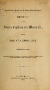 Cover of Report of the Sonora Exploring and Mining Co