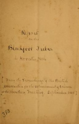 Cover of Report on the Blackfoot tribes