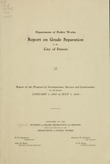 Cover of Report on grade separation in the city of Detroit