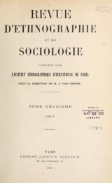 Cover of Revue d'ethnographie et de sociologie