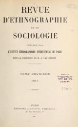 """Cover of """"Revue d'ethnographie et de sociologie"""""""