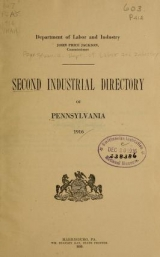 Cover of Second industrial directory of Pennsylvania, 1916