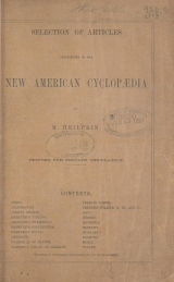 Cover of Selection of articles contributed to the New American cyclopÆdia