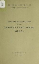 """Cover of """"Seventh presentation of the Charles Lang Freer Medal, May 2, 1983"""""""