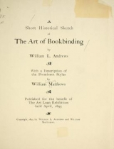 Cover of A short historical sketch of the art of bookbinding