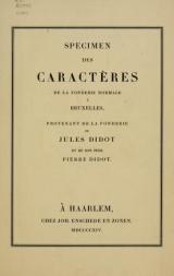 Cover of Spécimen des caractères de la fonderie normale à Bruxelles