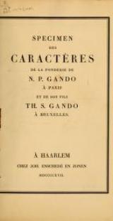 """Cover of """"Specimen des caractères de la fonderie de N. P. Gando à Paris et de son fils Th. S. Gando à Bruxelles"""""""