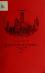 """Cover of """"Statement by the Secretary"""""""