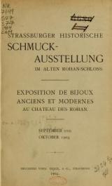 Cover of Strassburger historische Schmuck-Ausstellung im alten Rohan-Schloss
