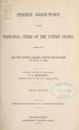 """Cover of """"Street directory of the principal cities of the United States embracing all the letter-carrier offices established to July 1, 1890 /"""""""