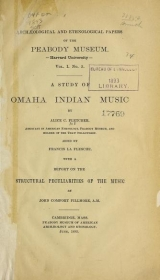 Cover of A study of Omaha Indian music