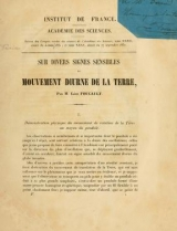 Cover of Sur divers signes sensibles du mouvement diurne de la terre