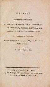 Cover of Tentamen juventutem studiosam in elementa matheseos purae, elementaris ac sublimioris, methodo intuitiva, evidentiaque huic propria, introducendi t. 2