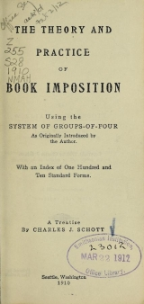 Cover of The theory and practice of book imposition
