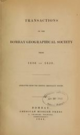 Cover of Transactions of the Bombay geographical society