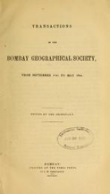 "Cover of ""Transactions of the Bombay geographical society"""