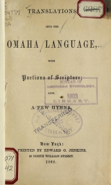 Cover of Translations into the Omaha language, with portions of scripture, also a few hymns