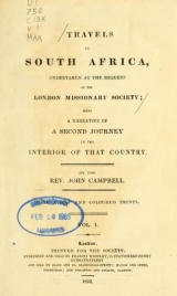 Cover of Travels in South Africa, undertaken at the request of the London missionary society