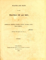 Cover of Travels of Ali Bey pseud. in Morocco, Tripoli, Cyprus, Egypt, Arabia, Syria, and Turkey. Between the years 1803 and 1807.