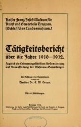 Cover of Tätigkeitsbericht über die Jahre 1910-1912