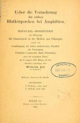 Cover of Ueber die Vermehrung der rothen Blutkörperchen bei Amphibien