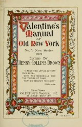 Cover of Valentine's manual of old New York