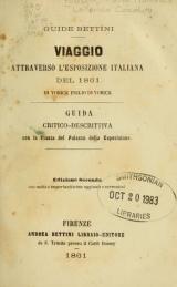 Cover of Viaggio attraverso l'Esposizione italiana del 1861
