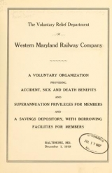 """Cover of """"The Voluntary Relief Department of Western Maryland Railway Company"""""""