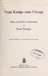 Cover of Vom Kongo zum Ubangi
